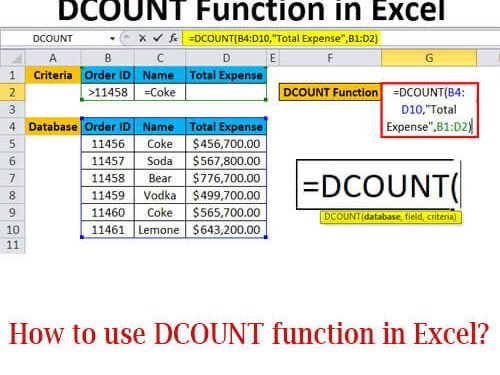 How to use DCOUNT function in Excel