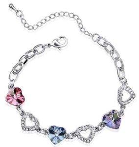Dahlia Colorful Heart Crystal Rhodium Plated Bracelet