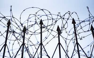 low angle shot barbed wire fence