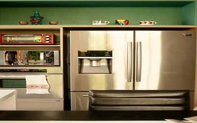 metallic refrigerator and ovens